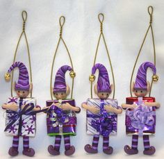 Purple Christmas Elf Ornament.