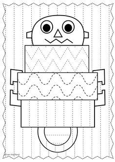 FREE Robot Big Shape Tracing Worksheet