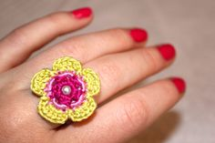 Crochet Flower Ring Green and Pink Pearl by CatWomanCrafts on Etsy, $6.00