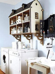 """""""Creative Storage: here it's in a laundry room could also be used in child's room."""