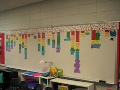 """Sample Word Wall in a 1st grade class. Love the color coding! Red is for review words they should know from K. The other colors she uses to differentiate between which book or unit they are on. Plus it's an easy way to guide students to the spelling of a work, """"look under letter 't' at the blue words."""" How great is that!?!  From: F is for First Grade: Word Wall"""