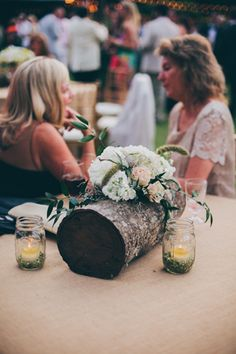 tree stump centerpieces - very unique!