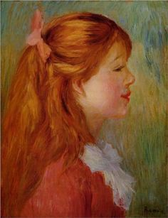 Young Girl with Long Hair in Profile - Pierre-Auguste Renoir