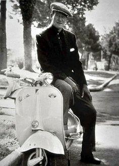 John Wayne with a Vespa