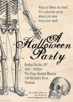 I wanna have a Halloween party this year. Halloween Invitation: Mr. Bones Skeleton Halloween Party