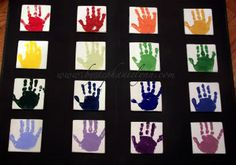 individual handprints with one color.