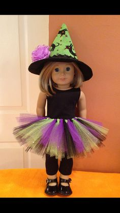 Adorable green and purple witch costume for American Girl Dolls! Order by October 25 guarantee to arrive for Halloween