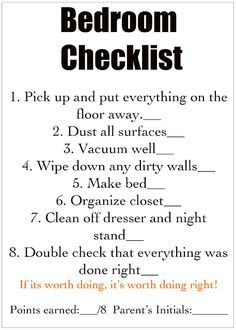 Chores/cleaning checklist for each room - for kids