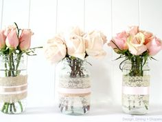 Transform old glass jars into shabby chic vases with lace and ribbon baby food jars, recycled jars, shabby chic, ribbon, old jars, flower vases, shower, mason jars, wedding centerpieces