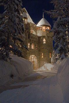winter castle in Sandpoint, Idaho.