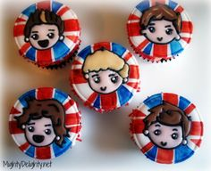 Mighty Delighty: One Direction Party Cupcakes and Cookies 1d cupcak, cupcak idea, cake idea, party cupcakes, direct yummi, one direction, direct parti, cupcake toppers, direct cupcak