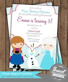 Frozen Invitation Princess Anna Elsa Disney Inspired Birthday Party Card Digital Printable DIY