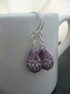 Moroccan Plum Drop Earrings by NataliaLovat on Etsy, £15.00