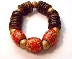 HandPainted Ethnic Bracelet for Women Size 6.57 inches by MereTrinkets, $16.00