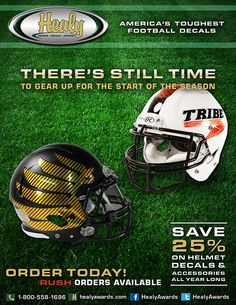 There's still plenty of time to order your team's football helmet decals for the 2014 season.  Give us a call today at 800-558-1696 to place your order.  Rush orders are available.