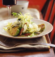 Frisée and Endive Salad with Warm Brussels Sprouts and Toasted Pecans Recipe  | Epicurious.com