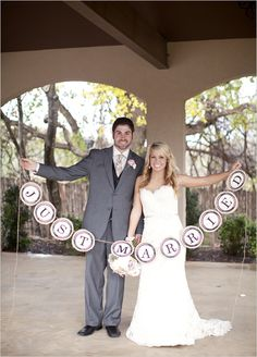 idea, parties, just married signs, weddings, the dress