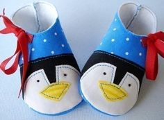 Penguin and Plain Baby Booties - shoes with Ribbon Ties - PDF ePattern Sewing