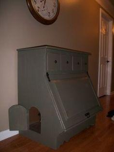 furniture to hide cat litter box | Hidden kitty litter box furniture w/storage. ... | Cats: litter box