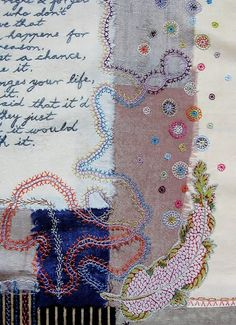 """maya matthew:""""It grew with additions of fabric, applique and embroidery until I felt it was complete."""" (detail)"""