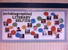 "Literary Selfies {autobiographies} display @ MEI Secondary Library. Faux Polaroids of author and conversation bubble including title of book, summary and ""find it on a the shelf at [call number]""."