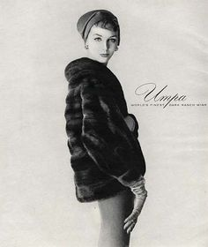 Lucinda Hollingsworth in an Umpa Mink ad and hat by Mr. John, 1959