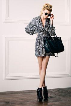 Cole Shawl Collar Dress.  Zoe Tote Mini.  Danielle Buckle Bootie.