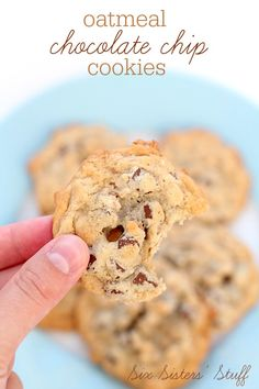 These Oatmeal Chocolate Chip Cookies are perfectly soft and chewy! | SixSistersStuff.com