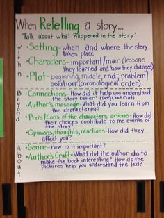 My retell anchor chart (pic only). I gathered many ideas from other pins on Pinterest and adapted the rest to fit my needs. I use the LLI in my Title classroom.