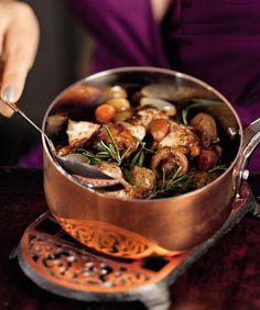 Coq-au-vin, classic French recipe  No idea what it is, but it looks amazing!!!-k