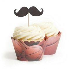 Basketball Mustache Topper & Wrapper Kit