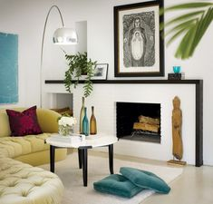 Paint the brick fireplace white, update the look