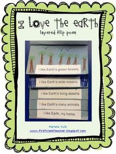 I Love the Earth Flip Book Poem freebie