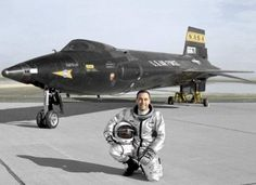 Test pilot in front of X-15 rocket plane