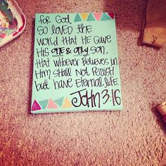 john 316  any bible verse painting by hannahbusinggg on Etsy, $12.00