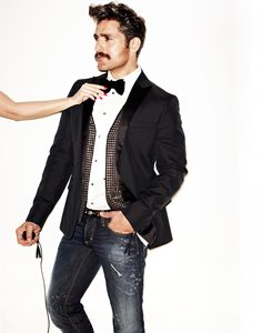 Tuxedo jacket with jeans..the new cool