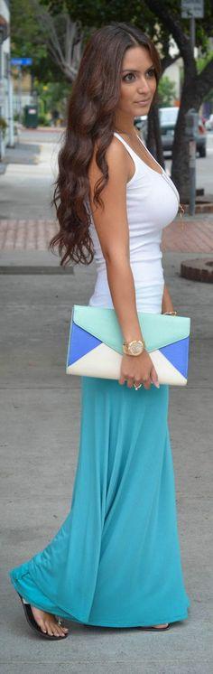 Maxi skirt with white tank