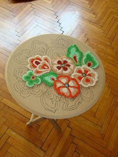 Floral mosaic table top--work in progress