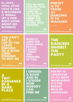 Free downloadable poetry posters from the Scottish Poetry Library.