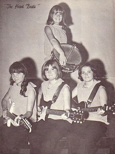 Photo of The Heart Beats of Lubbock, TX in the late 1960s via Cicadelic Records.  One of the first all-girl garage rock bands.
