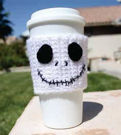 Jack Skellington -ish Travel Coffee Cup Mug Cozy - The Nightmare Before Christmas -ish Disney Animation Crochet Knit Sleeve. $16.00, via Etsy. crochet knit, mug cozy, christmas, coffee cups, disney knitting, disney animation, mugs, jack skellington, coffee cozy