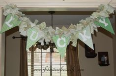 St. Patrick's Day Bunting.  #stpatricksday   http://thehesitanthousewife.com/st-patricks-day-remnant-bunting/