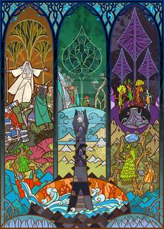 Lord of the Rings Trilogy, Stained Glass Illustrations: The Shepherd Of The Forest geek, forests, glass art, glasses, jian guo, digital art, artist, stain glass, stained glass