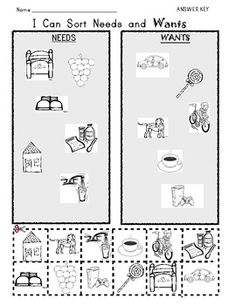 I Can Sort NEEDS and WANTS / Picture Worksheet - Class of Kinders - TeachersPayTeachers.com