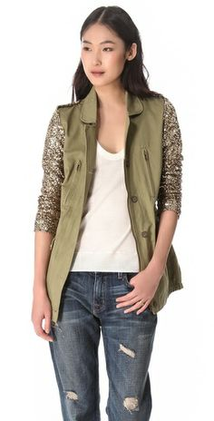 cargo jacket with sequin sleeves