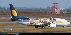 The brand new Jet Airways Disney Channel logo jet.