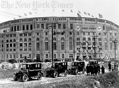 "Yankee Stadium in NYC, Opening Day - 1923. The 2.5 million $ ""House That Ruth Built"" opens with a reported crowd of 74,200 on April 18, 1923. More than 25,000 fans were turned away at the turnstiles as the Yankees defeated the Red Sox, 4-1."