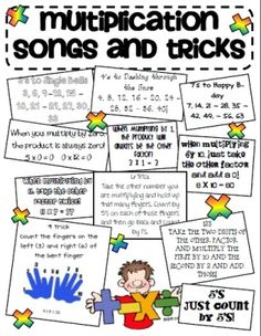 Multiplication songs and tricks