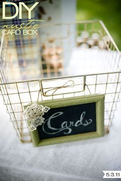 card bin with diy chalkboard sign