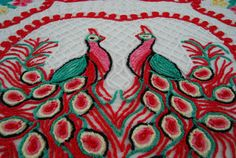 Red Double Peacock and Hearts Vintage Chenille Bedspread